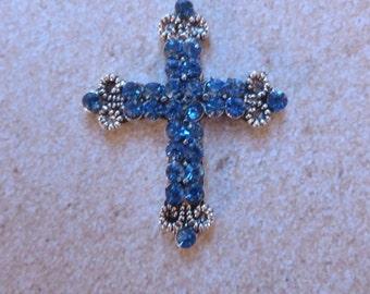 Tiny Blue Jeweled Cross - Magnet