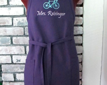 Personalized Apron with Bicycle - Customized apron with name and bike image