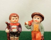 Miniature Hummel Style Figurines German Boys Bisque Porcelain 2 inch