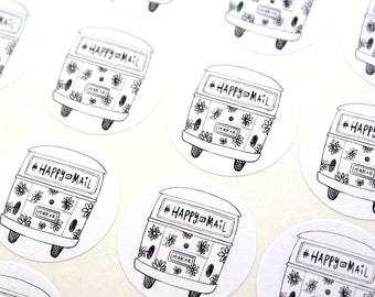 Shop Exclusive - Happy Mail & Maker VW bus Stickers - Volkswagon bus flower power happy mail stickers