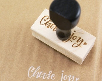 Shop Exclusive - Choose Joy rubber stamp- hand lettered wood stamp - stationery & packaging