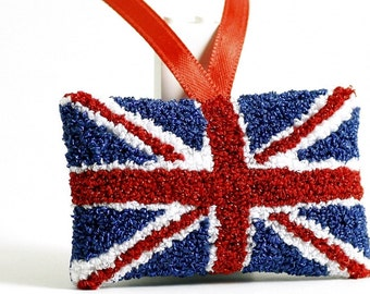Union Jack Flag of United Kingdom. Christmas Ornament. Red, Blue, White. England, Scotland, Wales. Punchneedle Embroidery.