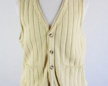 SALE - Vintage Pale Yellow Button Down Cardigan Golf Sweater Vest - Mens Size Large