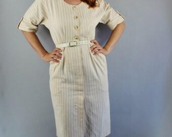 Summer Dress, 80s does 50s Women's Dress, Wiggle Dress, Nude Beige, Work Dress, Office Dress, Cotton, Size Medium, FREE SHIPPING