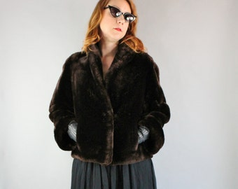 Vintage 1950s 50s Women's Mouton Fur Coat Dark Chocolate Brown Sheared Lamb Sheepskin Short Formal Dress Coat, Size Large