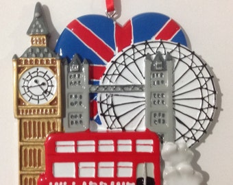 Personalized Britain, London Travel Ornament- Wedding favor, Christmas Gift