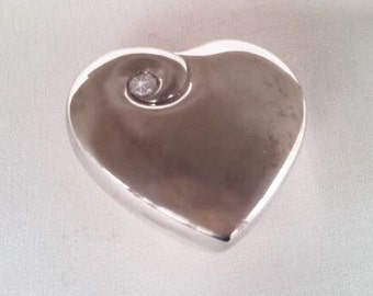 Vintage Silver Plated Heart Shape Jewelry Box, Silver Plated Ring Presentation Box with Rhinestone on Lid, Blue Velvet Lined Interior