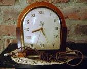 "Art Deco Clock ""The Dorie"" Telechron Model #5F61 All Wood Roman Numerals  **FREE SHIPPING!!!"