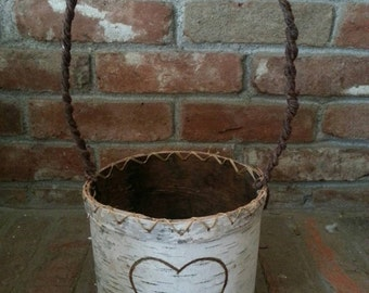 Birch bark basket,  flowergirl basket