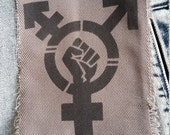 Transgender Trans pride patch Equal rights stencil spray paint diy handmade by Rainbow Alternative power to the people