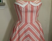 Pink and white striped halter dress