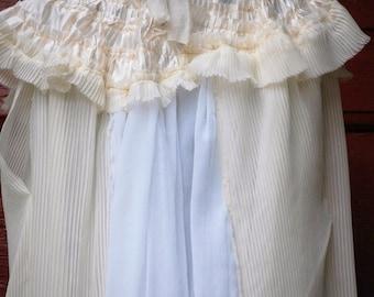 Dress, crimson peak, edwardian gown, halloween, goth, noire, vampire, costume, alternative wedding, white dress, cream,collar, pleated dress