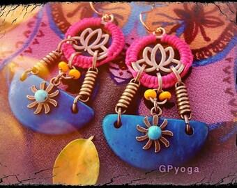 SUN, Crescent MOON and LOTUS earrings Unusual jewelry gift Yoga Macrame Bikini jewelry Colorful Summer Teal Blue Oriental jewelry GPyoga