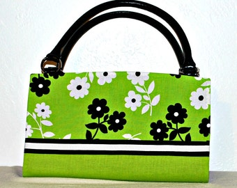 Two Tone Lime Green, Black and White Floral Magnetic Bag Shell Cover