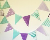 Purple, Lavender, Mint, Turquoise, Banner, Bunting, Garland Fabric Pennant Flags, Party Banner, Girl Birthday Party, Baby Shower, Wedding