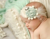 Frothy- vintage inspired chiffon and lace headband in seafoam and ivory