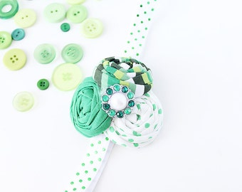 Green Day- triple rosette green and white st patty's headband bow