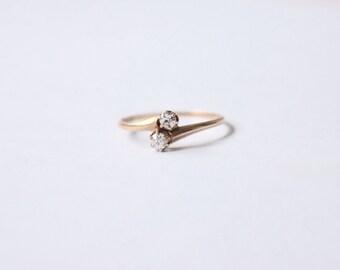 Antique 14k Gold Toi Et Moi Diamond Ring c.1900