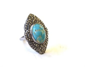 Antique Art Deco Ring With Tirquoise Art Glass and Marcasites c.1920s