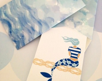 Mermaid Mini Cards and Envelopes, Gift Enclosure, Gift Tag, Gift Card Holder, Set of 10