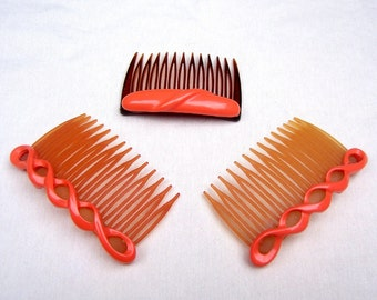 Celluloid hair combs 3 orange mid century hair accessories decorative comb hair jewelry hair ornament