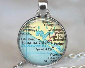 Panama City, Florida map necklace, Panama City pendant, Tyndall Air Force Base, Parker, Florida Tyndall AFB key chain key fob