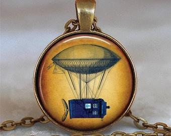 Steampunk Tardis necklace, Steampunk Tardis pendant, Tardis jewelry, Steampunk Dr Who necklace, Dr Who jewelry key chain key fob