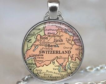 Switzerland map necklace, Switzerland map pendant, Switzerland necklace, map jewelry, map jewellery map key chain key fob