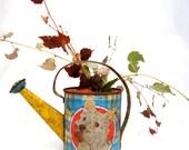 vintage toy watering can.scottie.kitty.sweet patina.Ohio Art.vase.garden decor.tessiemay vintage