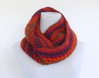 Chunky cowl scarf Infinity scarf  hand knitted coral wool blend scarf unique winter fashion