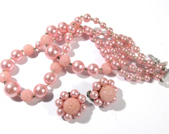 Pink Pearl Necklace & Cluster Earrings VINTAGE Stunning Pink Beads Pearls Necklace Earrings Japan Vintage Jewelry Ready to Wear 50's (L165)