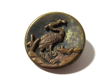 Victorian Button Heron with Fish ANTIQUE Three Piece Button Escutcheon Brass Steel One (1) Vintage Sewing Jewelry Wedding Supplies (G145)