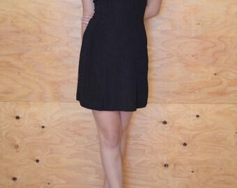 Vintage 90's Black & Cream Dress Floral Empire Hourglass Club Wear SZ S