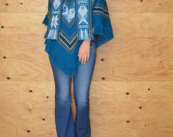 Vintage 70's Knit Poncho Woven In Teal Striped Fringe At Hem Scarf In Front One Size