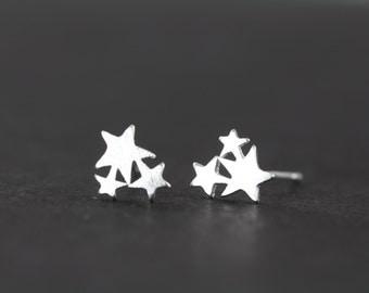 Star Earrings - Minimalist Earrings - 925 Sterling Silver Star Studs
