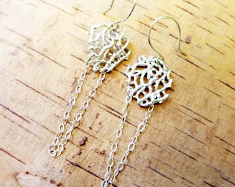 Silver Sea Lace Earrings, Hand Cast Bronze or Sterling Silver, Organic Nature Jewelry, Heart-Shaped, Lost Wax Cast