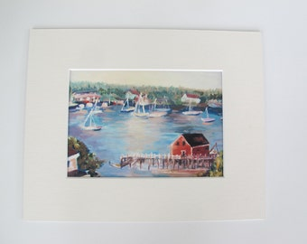 Small Print Of Oil Painting Boothbay Harbor Maine, Matted and Fits 8x 10 In Frame