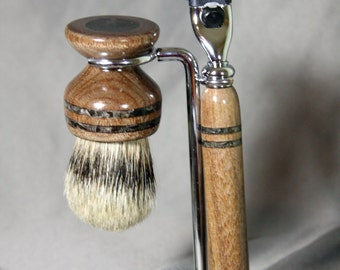 Domestic Walnut Wood Shaving Kit Razor and Brush w/ Black Obsidian Inlay Mach3 & Fusion Graduation Gift Father's Day Gift Wooden Razor