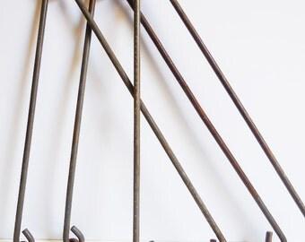 Three steel brackets hangers Lights frames Signs Industrial repurpose supplies