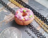 Donuts & Dedication - handmade frosted pastry, sparkles, rainbow sprinkles, miniature doughnut charm necklace - choose your custom chain