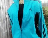 My Adidas - retro 80s cerulean, dark teal blue & black, Adidas track jacket, zip front, pockets, Ladies Jr. Sm