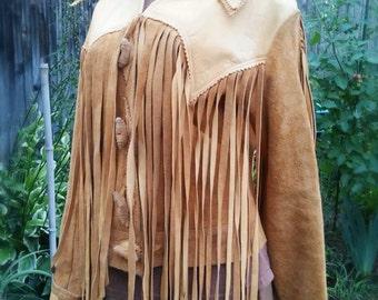 Jean - custom made, vintage 1960s leather jacket, camel, fringe tassels, button front, detailed leatherwork