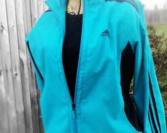 My Adidas - retro 80s cerulean, dark teal blue & black, Adidas track jacket, zip front, pockets, Ladies Jr. Sm