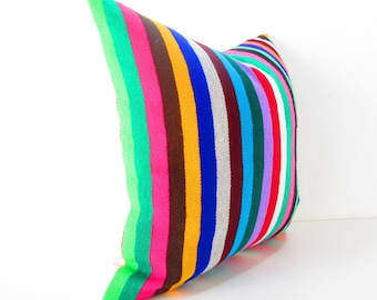 Mexican Pillow, Serape Pillow, Tribal Pillow Cover, Decorative Pillow Cover, Aztec, Mexican Cushion Cover, Bright, 20 Inch, colorful.