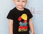 Boy Birthday Shirt, Construction Worker, 1st Birthday Personalized Embroidered Shirt,  2nd Birthday, 3rd Birthday Boy, Hard Hat, Tool Belt
