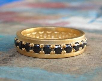 Black Diamond Eternity Ring , Diamond Eternity Ring , Black Diamonds Ring , Gold Wedding Ring , Anniversary Gold Ring - 18K Solid Gold