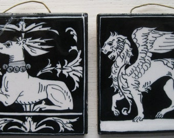 2 Italian black & white Vintage tiles of a classical Lion and a Deer from Siena Italy