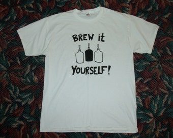 XL Beer Shirt - Brew It Yourself, Extra Large, Black White, beers, hops, microbrew, diy, tshirt, Homebrew, Beer Carboys, do it yourself, ale