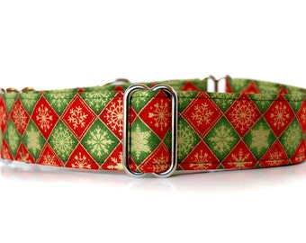 Martingale Dog Collar in 1.5 inch or 2 inch wide. Snowflake diamonds red, green and gold Martingale