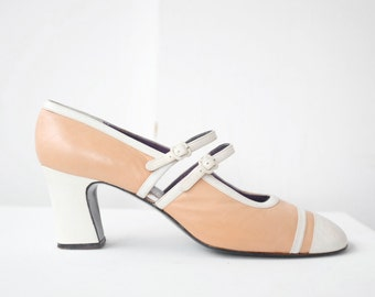 vintage 1970s mary jane spectator pumps / pink and white mary janes / great gatsby shoes size 9